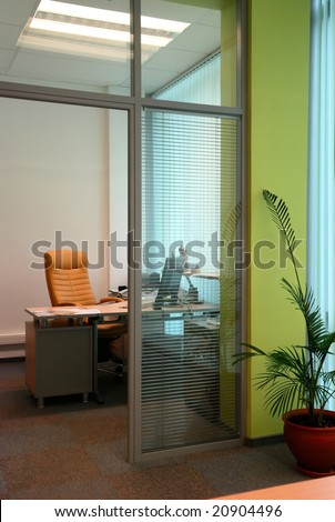 Little office study behind the glass partition