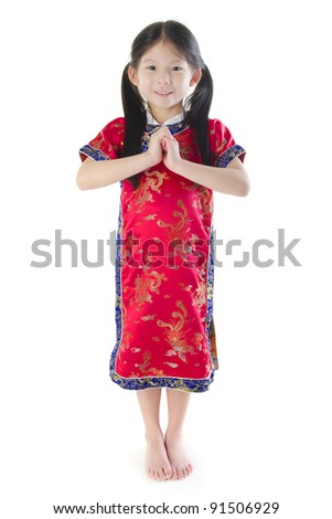 Little oriental girl wishing you a happy Chinese New Year