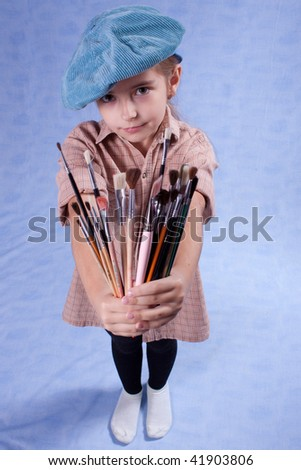 Little painter and set of brushes