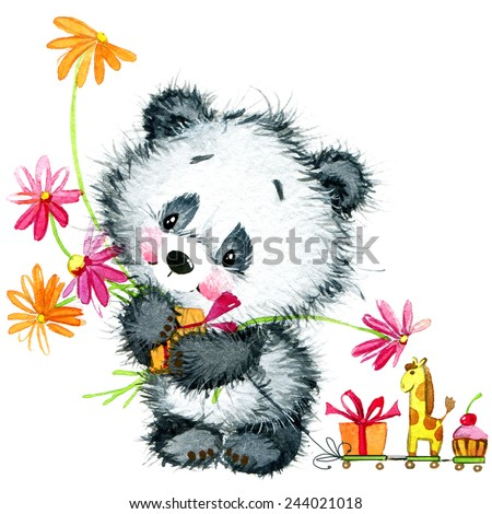 little panda birthday background for greeting card watercolor