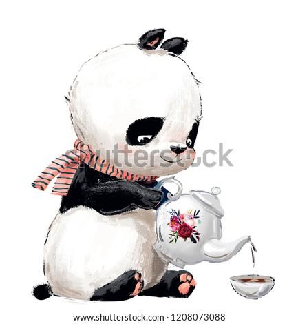 Little Panda with tea