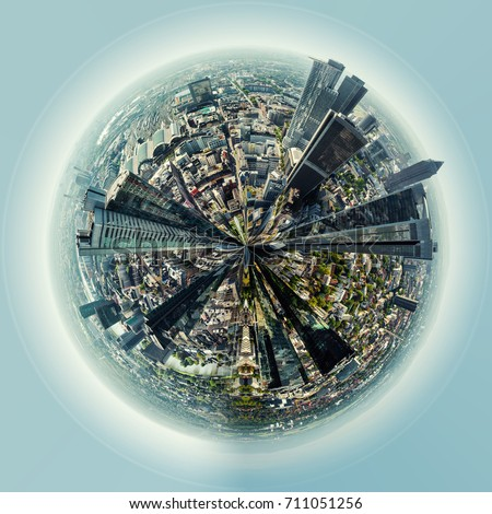 Little planet 360 degree sphere birds eye view. Panoramic view of Frankfurt am Main city, Germany