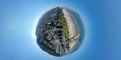 Little planet 360 degree sphere. Panorama of aerial view of Santos, Brazil