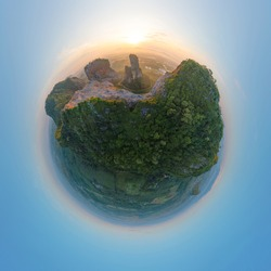 Little planet 360 degree sphere. Panorama of Khao Kuha at Songkhla. Mountain hill with green forest trees. Nature landscape background in Thailand. Huangshan mountain.