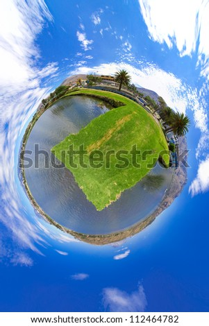 Little planet panorama of a lake