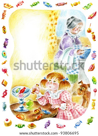 Little pretty girl takes sweets from the vase. Granny cooks the dinner. Image with copy space, useful for children`s cards.