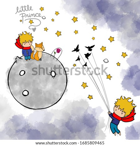 Little prince flying with Birds. Nursery poster or print for baby room, boom cover, shower card. Boy with Fox.