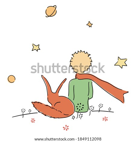 Little prince watches stars with fox on top of planet child pattern ストックフォト ©