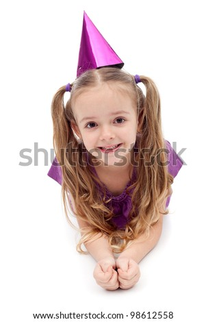 Little purple party girl on white background