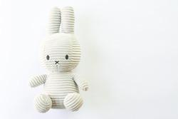 little rabbit toys on white background