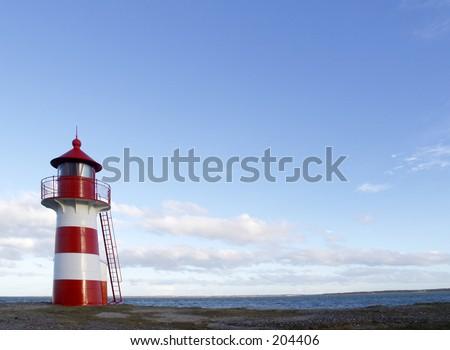 Little red and white striped lighthouse, Limfjorden, Denmark