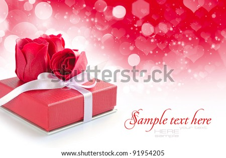 Little red gift on festive background