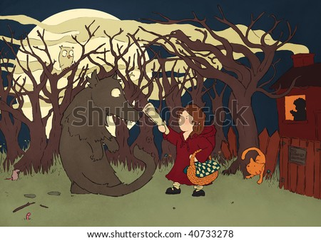 Stock Photo little red riding hood and the big bad wolf illustration
