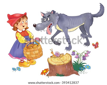 Little Red Riding Hood. Fairy tale. A little cute girl with a basket and a hungry wolf. Illustration  for children. Cartoon characters. White background.