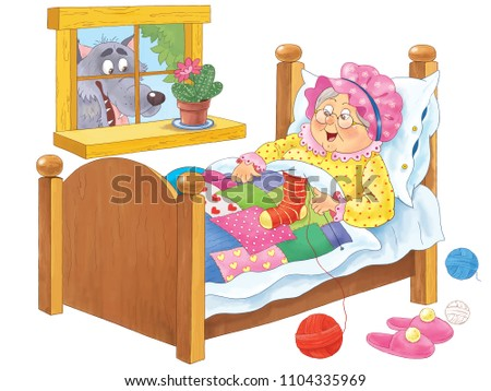 Little Red Riding Hood. Fairy tale. Coloring book. Coloring page. Cute and funny cartoon characters