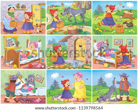 Little Red Riding Hood. Fairy tale. Set of coloring pages. Coloring book. Cute and funny cartoon characters. Illustration for children. Character design