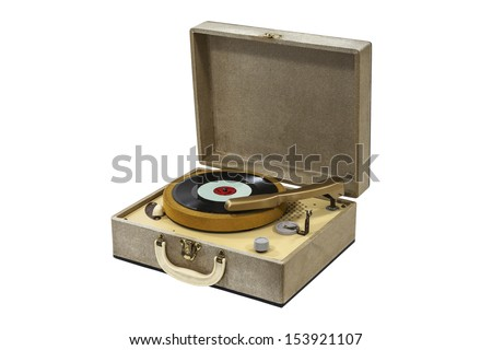 Little retro record player isolated with clipping path. #153921107