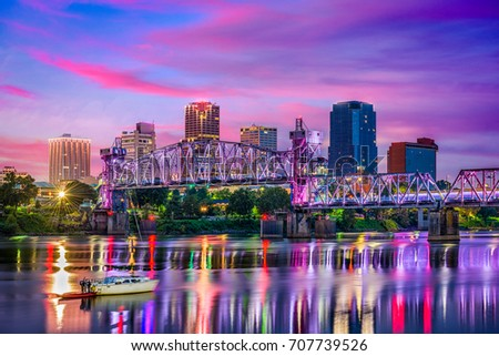 Little Rock, Arkansas, USA downtown skyline on the Arkansas River. #707739526