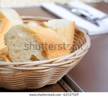 little roll breads in basket on table
