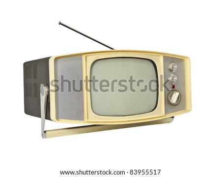 Little 1960's Portable TV with handle stand and antenna. - stock photo
