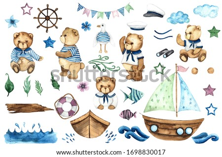 Little Sailor. Watercolor hand painted elements with cute Teddy Bears, boat, sailboat, steering wheel, anchor, Seagull, binoculars, fishes, captain's cap, waves, spray