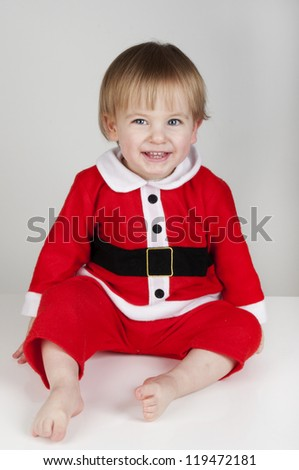 Little Santa Christmas boy smiling