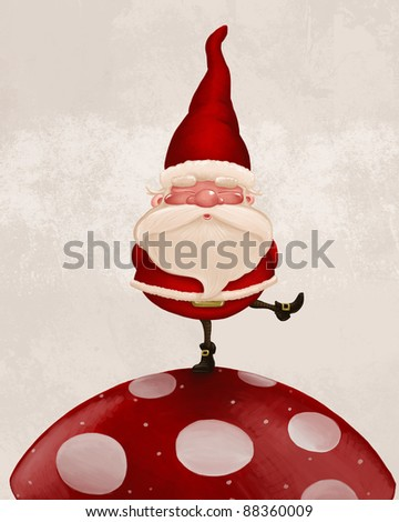 Little Santa Claus on big red fungus