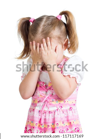 Little scared or crying or playing bo-peep girl hiding face