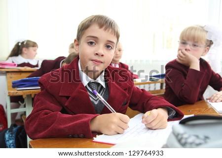Little schoolboy in Ukrainian school