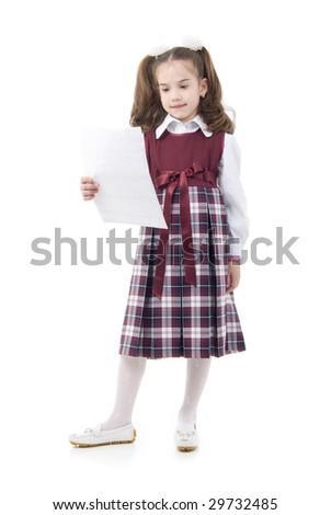 Little Schoolgirl With Paper