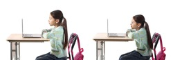 Little schoolgirl with proper and bad posture sitting at desk against white background