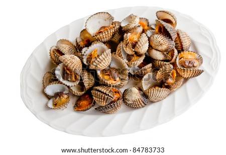 little sea shell cockle on dish isolated on white - stock photo