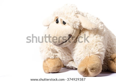 Little Sheep plush soft toy isolated on white #374929387