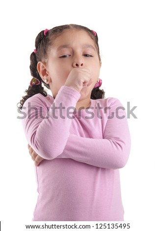 Little Sick Girl Coughing Isolated on White Background