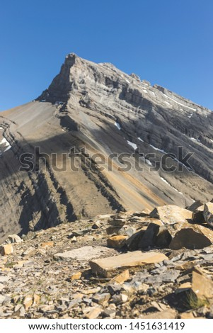 """Little Sister Peak called """"Hope"""", which is part of Three Sisters Peaks in Rocky Mountains, Alberta, Canada"""
