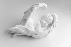 Little Sleeping Angel on white background, black and w