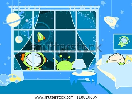 Little sleeping astronaut (raster version)