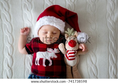 Free photos Little, cute baby boy wearing Christmas hat, on white ...