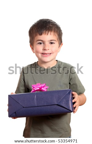 Little smiling Boy holding present box isolated on white