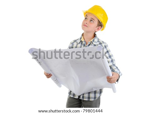 Little smiling builder in helmet. Isolated on a white background