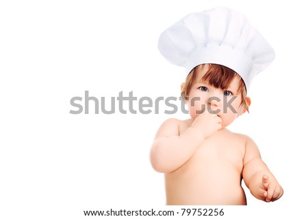 Little smiling chief-cooker, isolated on white.