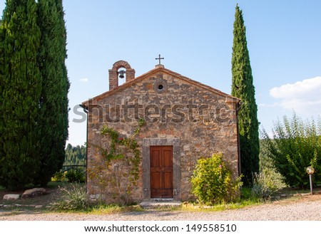 little stone chapel in tuscany, italy