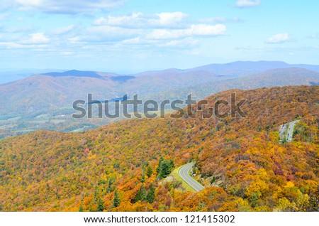 Little Stony Man overlook at Shenandoah National Park in autumn - stock photo