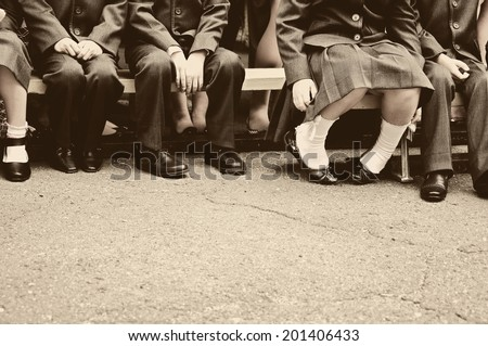 Little students on school meeting
