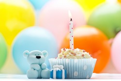 little sugar teddy with a cupcake, balloons and a candle