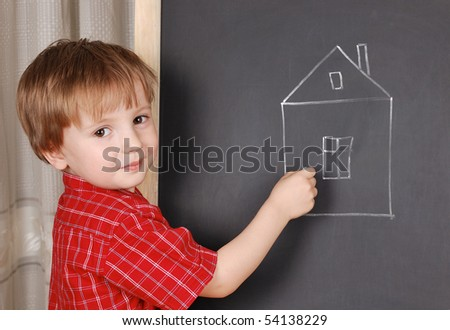 Little sweet artist chalk his home.