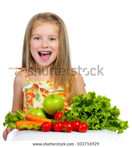 little sweet girl with vegetables, isolated on white background