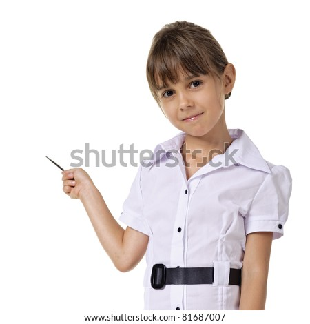Little teacher in white blouse standing and holding pointer. isolated on a white background