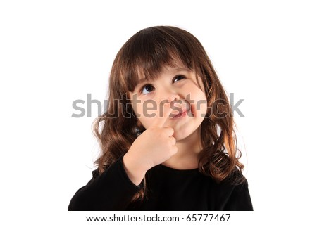 Little three year old brunette little girl holding her finger close to her nose with a thinking expression, hmm