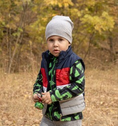 Little three years old boy outdoors portrait. Toddler boy walking in a park. Cute boy in fleece jacket and sleeveless jerkin on camping or picnic in a forest